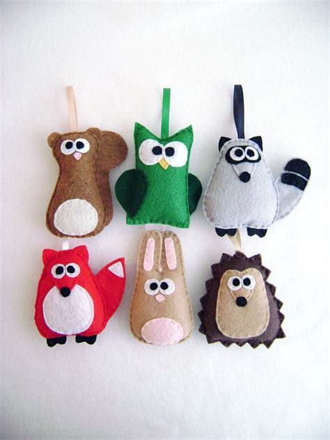 felt holiday ornament set the woodland critters