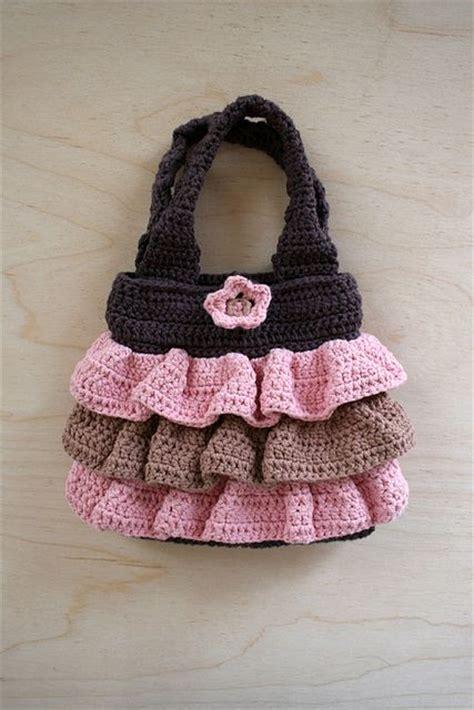 crochet ruffle bag pattern crocheted bags bags and ruffles on pinterest
