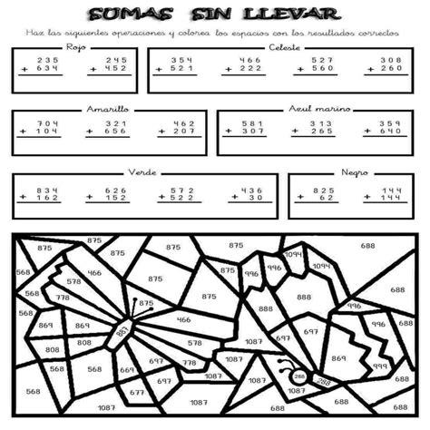 imagenes con operaciones matematicas para colorear dibujos de sumas y restas para colorear e imprimir