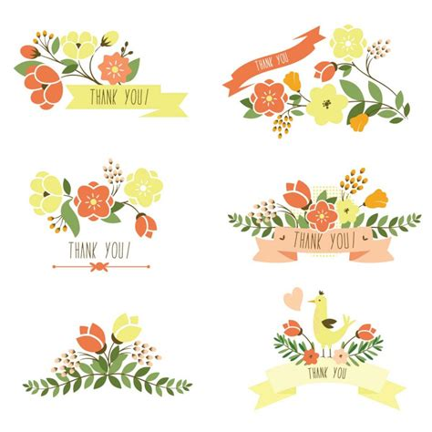 Floral Thank You Banner Set Vector Cgispread Free Download Flower Banner Template