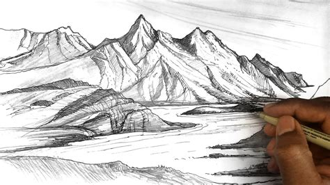 Drawing Mountains by How To Draw Mountains Mountain Sketches