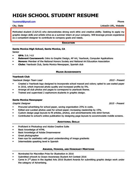 college resume builder for high school students resume for study