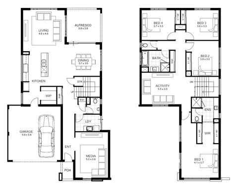 4 Bedroom 2 Storey House Plans by Two Storey House Design And Floor Plan