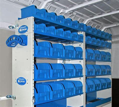 scaffali di plastica scaffalature per furgoni con contenitori in plastica