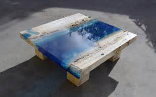 new marble and resin lagoon coffee tables by alexandre