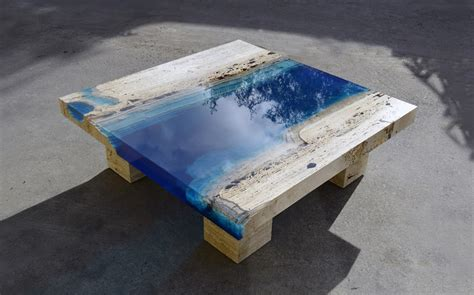 L Table by New Marble And Resin Lagoon Coffee Tables By Alexandre