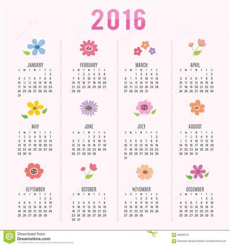 printable calendar 2016 cartoon calendar 2016 flower cute cartoon vector stock vector