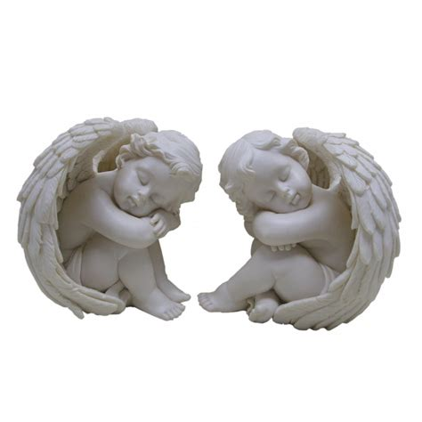 caught napping pair of cherub figurines nemesis now