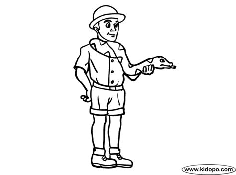 coloring page of a zookeeper zoo keeper coloring page