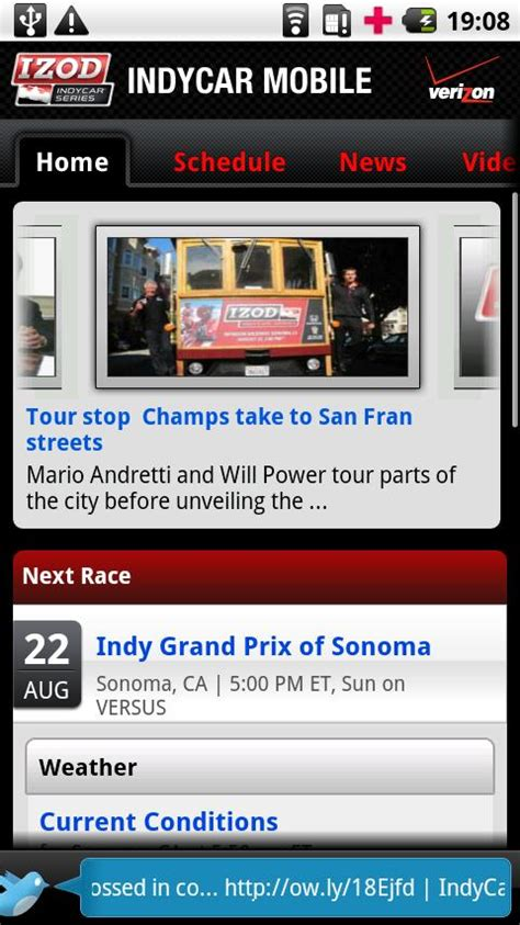 verizon apps for android verizon announces indycar mobile app for android phones