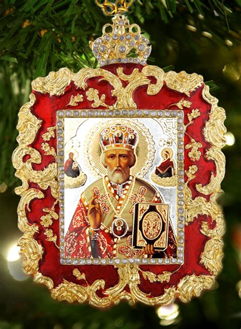 st nicholas square shaped ornament icon pendant red