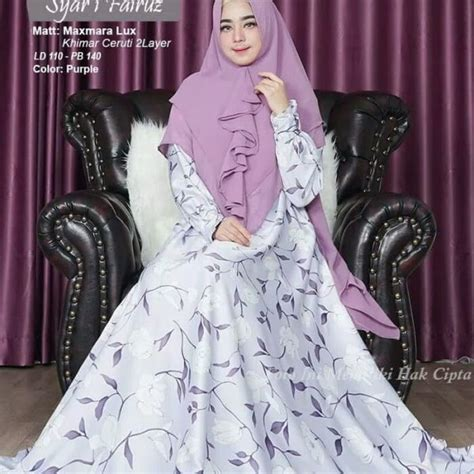 gamis syar i fairuz motif bunga model busana sarii