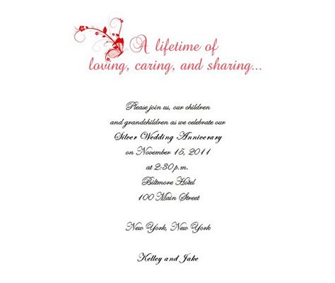 25th anniversary invitation card templates 25th anniversary invitation templates free template