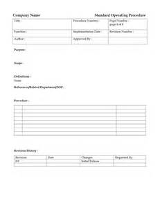 Standard Of Operating Procedures Template by Standard Operating Procedure Freewordtemplates Net