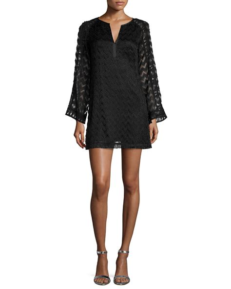 Sleeve Lace A Line Dress lyst nanette lepore sleeve lace a line dress in black