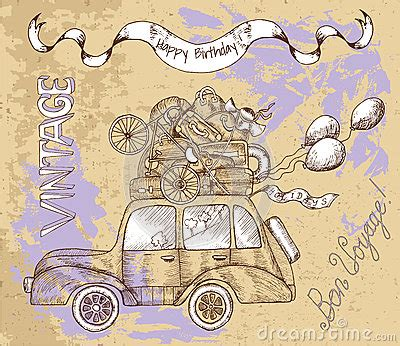 doodlebug happy cer vintage card with car and balloons stock vector