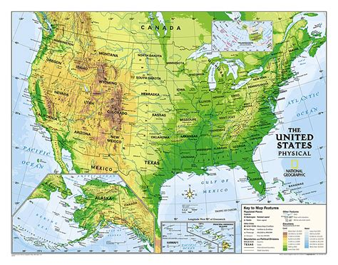 physical map of the united states for buy usa physical map for education grades 4 12 laminated