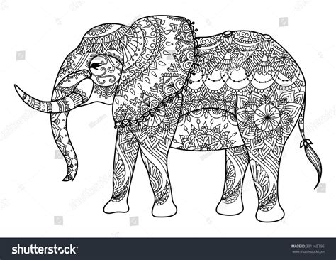 colouring book for adults south africa mandala elephant line design card stock vector