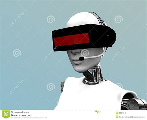 Headset Robot robot wearing futuristic headset stock images