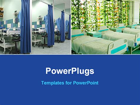 powerpoint template two layouts of hospital beds and blue