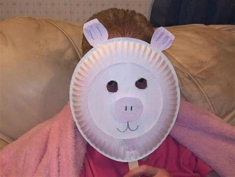 paper plate pig mask crafts for