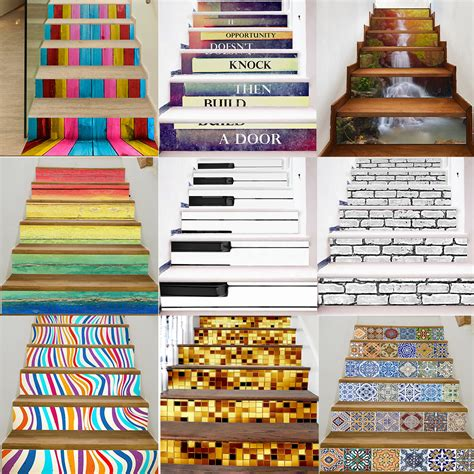 Wallpaper Sticker 5 87 Premium Mawar 3d 6pcs stair stickers risers decoration photo mural vinyl decal wallpaper decor ebay