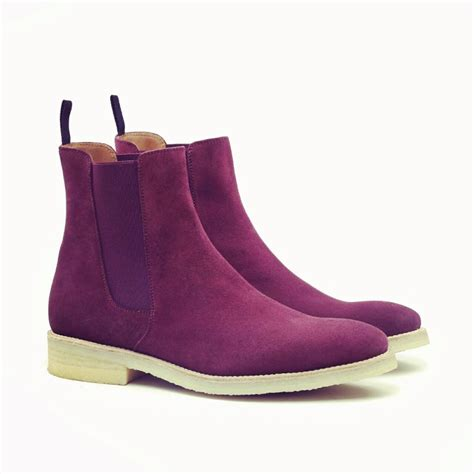 Handmade Mens Boots Uk - handmade purple suede leather boot mens chelsea suede