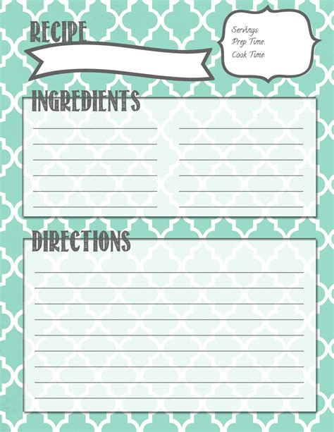 recipe template printable melanie gets married recipe binder printables