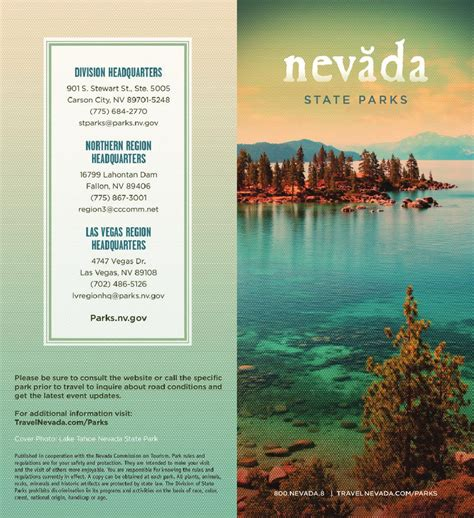 Notre Dame Mba Brochure by Nevada State Parks Brochure By Nevada Commission On
