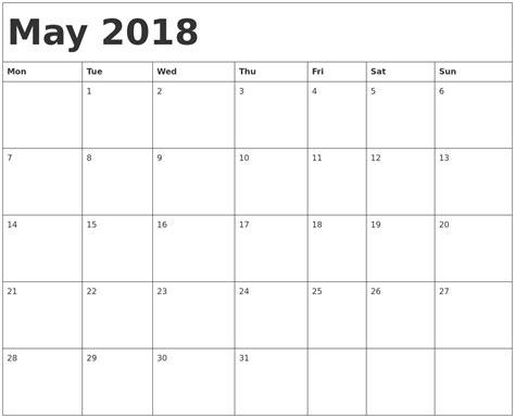 printable calendar starting with monday may 2018 calendar template