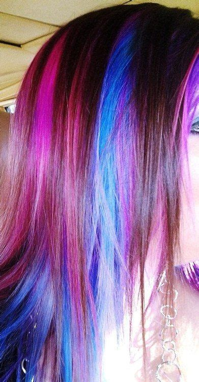 how does purple shoo work on recent highlights brown hair with pink purple and blue streaks crazy