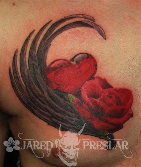 glass heart and rose flower tattoo by jared preslar tattoos