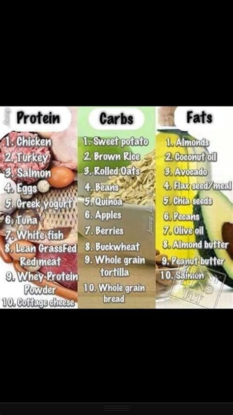 list of healthy fats carbs and proteins proteins carbs and fats health and fitness