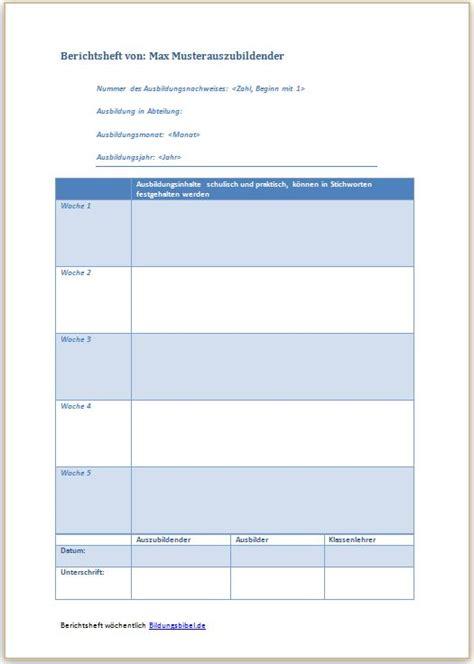 Leistungsbeurteilung Praktikum Vorlage berichtsheft vorlage ausbildungsnachweis muster kostenlos