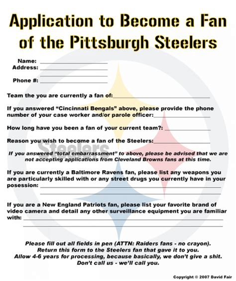 application to become a steelers fan