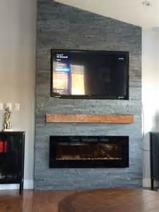 grey fireplace with floating mantle electric