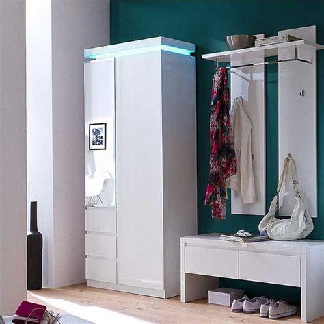moderne schlafzimmer bank garderoben set weiss hochglanz lackiert 3 teili