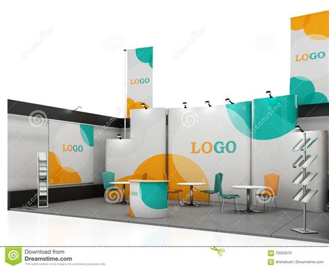 blank creative exhibition stand design with color shapes