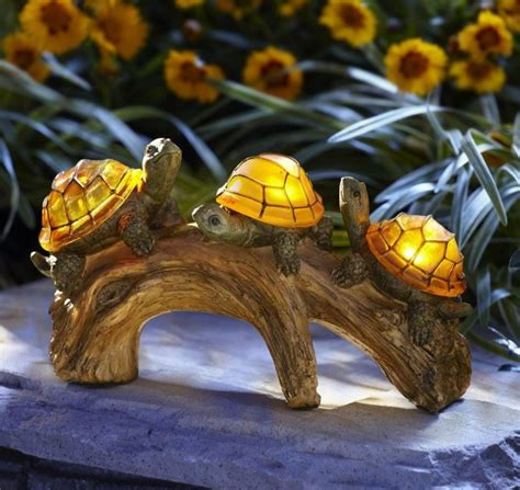 turtles on a log solar powered outdoor led light fresh