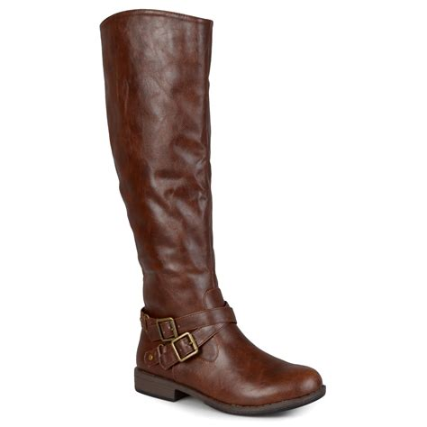 journee collection womens wide calf buckle detail boots ebay
