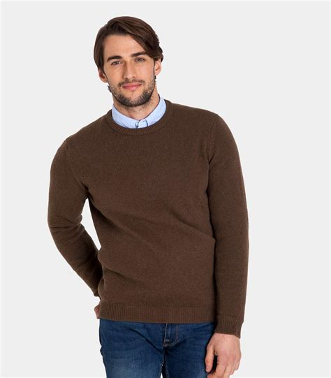 mens jumper wood brown lambswool s crew neck jumper woolovers