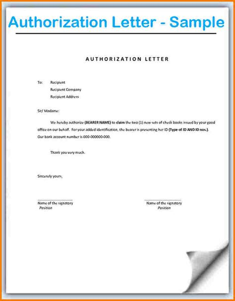 authorization letter wording authorization letter format word authorization best