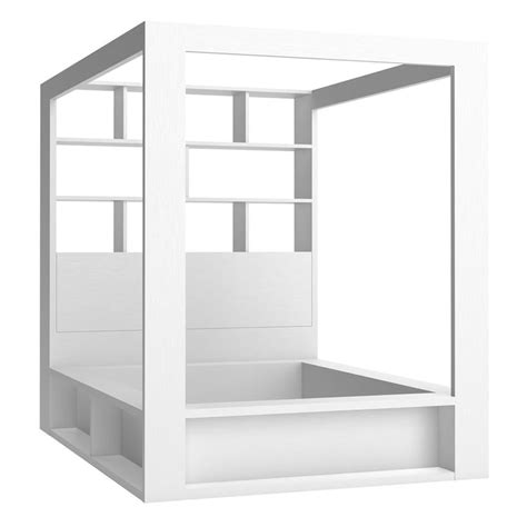 Bookshelf Headboard King 4you 4 Poster Double Bed With Storage Amp Shelves In White