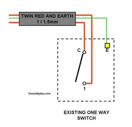 one way lighting circuit modified for two way switching