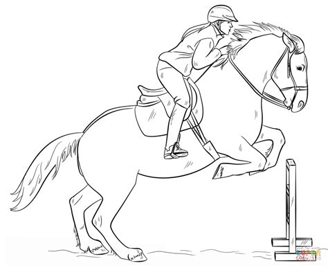 jumping horse with rider coloring page free printable