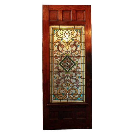 Large 38 Antique Oak Front Door With Jeweled Stained Stained Glass Door For Sale