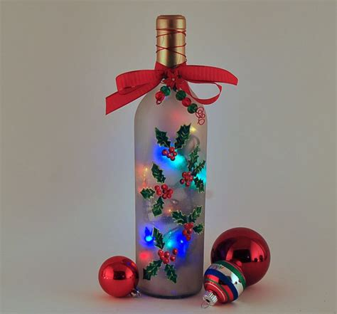wine bottle l holly christmas decor red and green