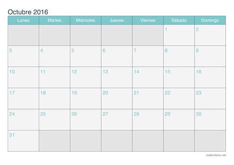 Calendario 2016 Octubre Calendario Octubre 2016 Para Imprimir Icalendario Net
