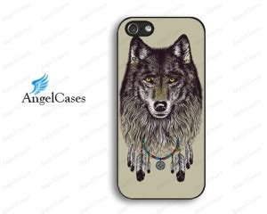 Casing Vintage Wolf Print For Iphone 5c 5 C iphone 5 multi color catcher black background