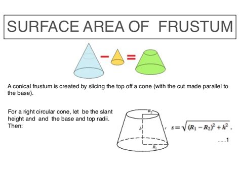 area of a cone section math slide area and volume